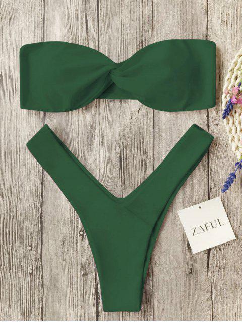 Bikini de tanga delantera con torsión - Verde del ejército XL Mobile