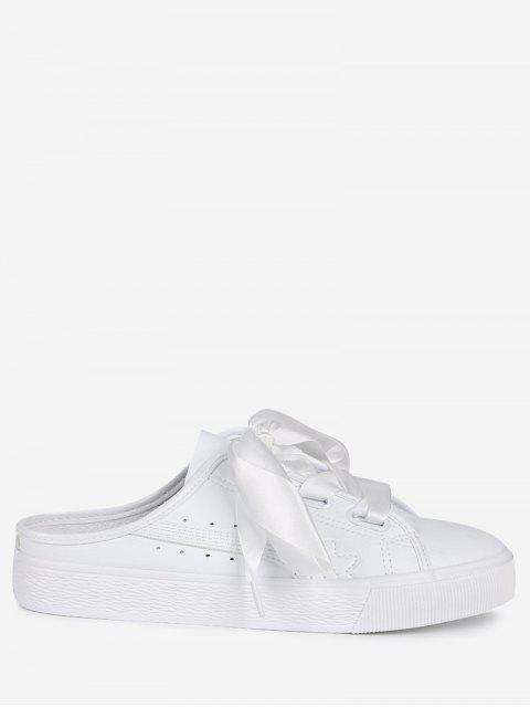 fancy Slip On PU Leather Flat Shoes - WHITE 37 Mobile