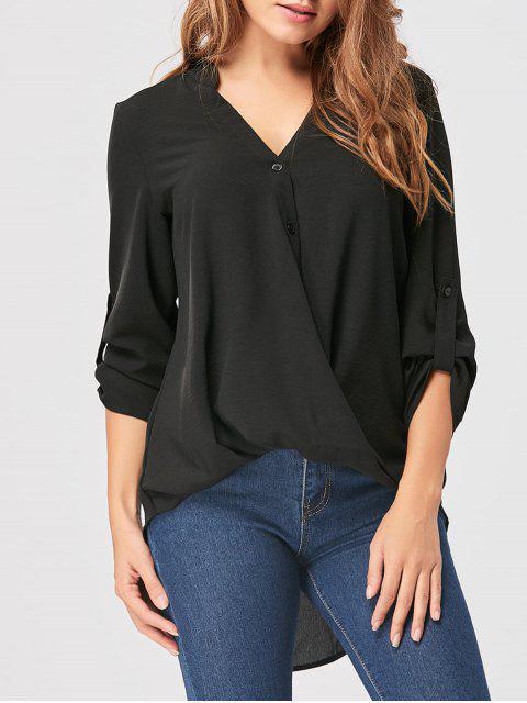 Blusa con cuello alto y bajo en gasa - Negro 2XL Mobile