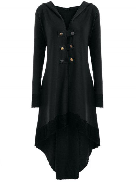 buy Lace-up Plus Size Hooded High Low Coat - BLACK 4XL Mobile