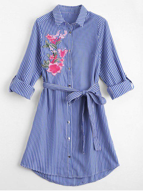 affordable Floral Embroidered Belted Stripes Shirt Dress - STRIPE S Mobile