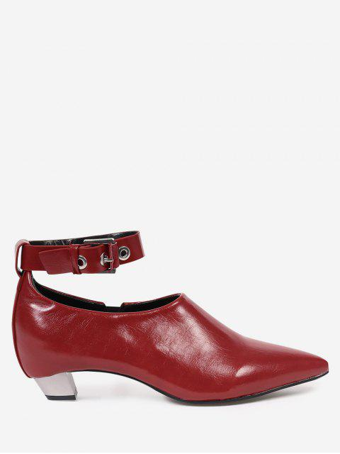fancy Pointed Toe Ankle Strap Flat Shoes - RED 37 Mobile