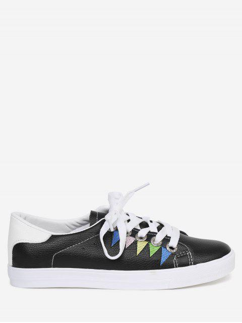 online Stitching Geometric Multicolor Sneakers - BLACK 40 Mobile