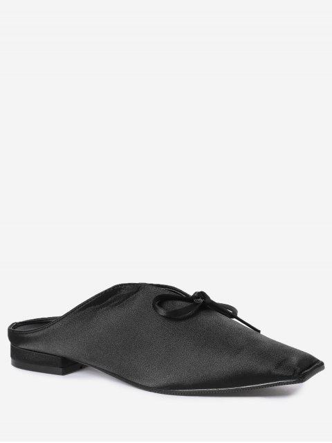 online Square Toe Bowknot Satin Slippers - BLACK 38 Mobile