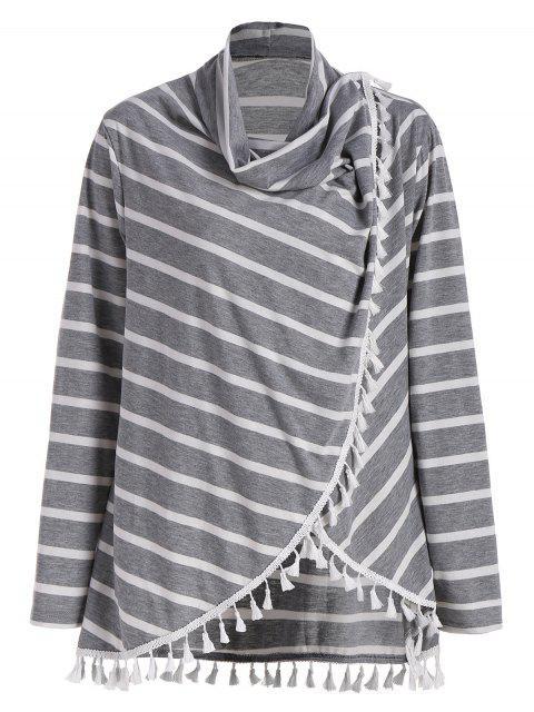 T-shirt Franges Rayé Grande Taille - gris 2XL Mobile