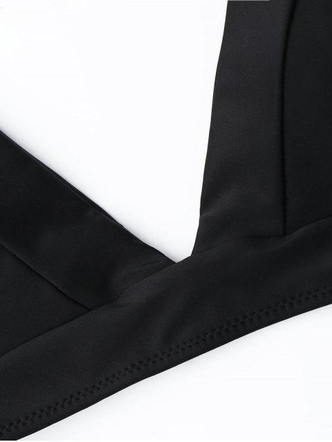 Conjunto Bikini Tanga Estampado Hoja - Negro L Mobile