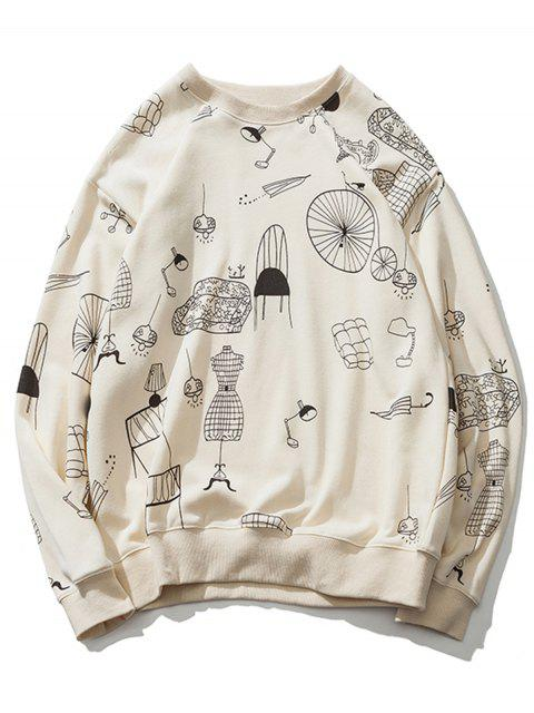 chic Cartoon Print Drop Shoulder Sweatshirt - OFF-WHITE M Mobile