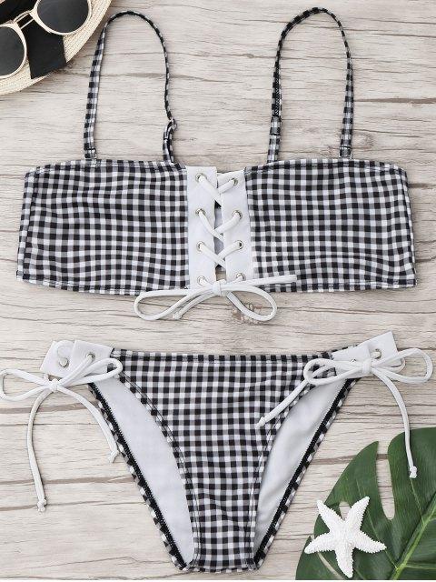 Kariertes Bikini Set Mit Schnürung - Kariert L Mobile