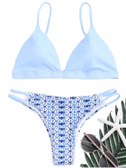 Gedruckter Enger Hintern Bikini Set - azurblau  L Mobile