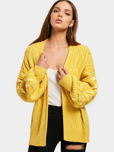 Lantern Sleeve Open Front Lace Up Cardigan - Yellow