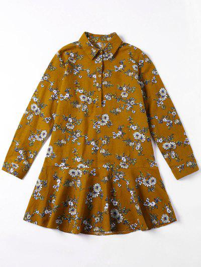 Flounced Tiny Floral Mini Shirt Dress - Yellow Ocher Xl