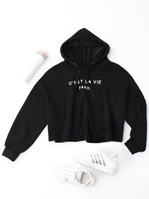 Cropped Letter Fleeced Hoodie