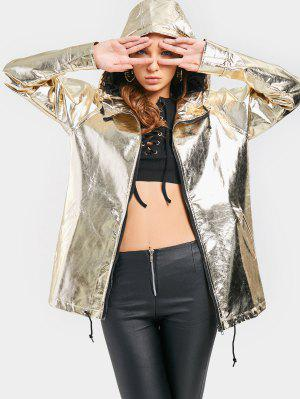 Pockets Zip Up Shiny Hooded Jacket - Golden 2xl