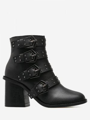 Block Heel Buckle Straps Ankle Boots