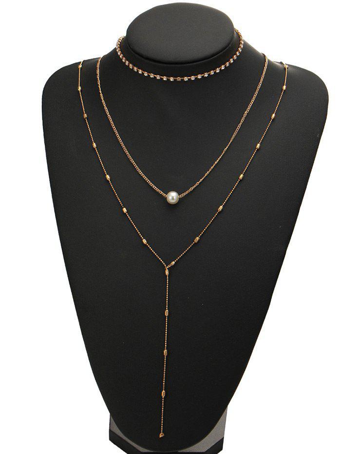 Rhinestone Faux Pearl Necklace Set