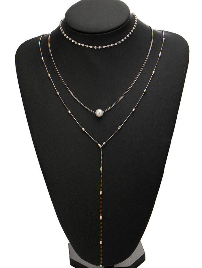 Rhinestone Faux Pearl Necklace Set - SILVER