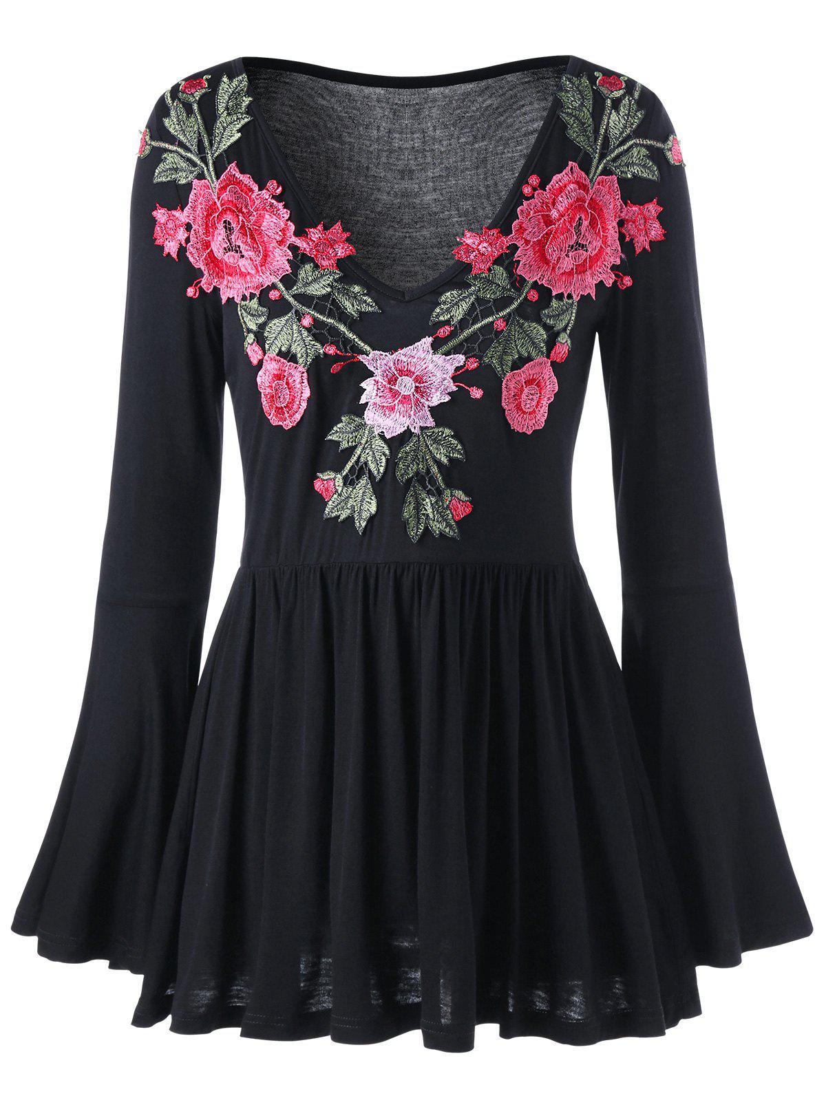 Glockenhlse Blumengestickte Peplum Bluse