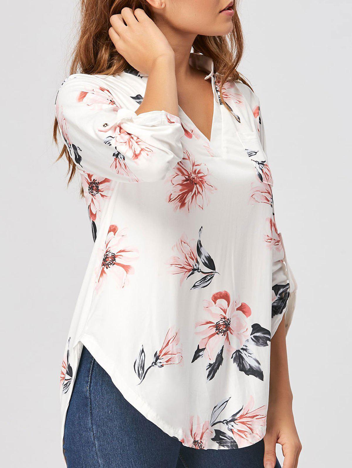 V-Ausschnitt Bluse mit Blumenmuster