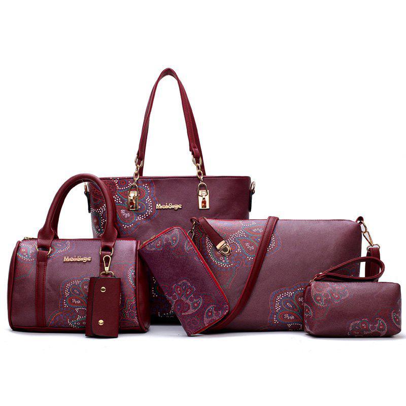 6 Pieces Floral Print Shoulder Bag Set