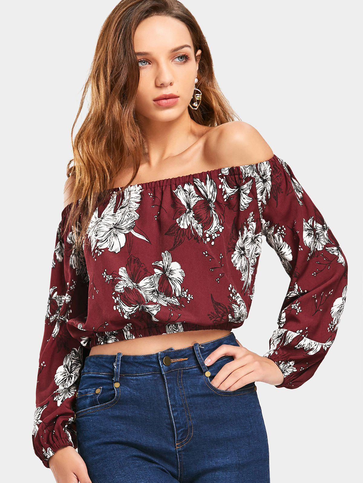 Cropped Floral Schulterfrei Bluse