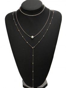 Juego De Collar De Perlas De Imitación De Diamantes - Plata
