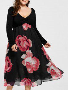 Plus Size Blumendruck Reich Taille Midi Kleid - Rot 2xl