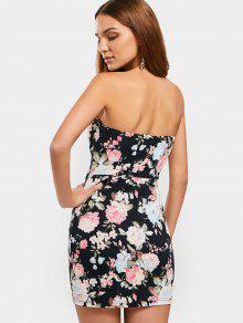6eb473b5acc 19% OFF  2019 Half Zip Floral Bodycon Tube Dress In BLACK