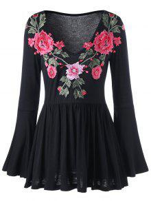 Bell Sleeve Floral Blusa De Peplum Bordada - Negro Xl