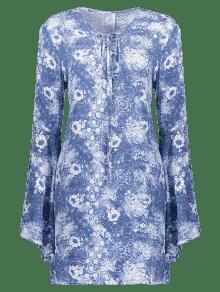 Flare Azul 237;nea L Floral Mini Xl Manga Vestir De Una OOS1w
