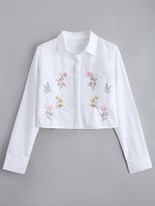 اقتصاص زر أسفل الأزهار المطرزة قميص - أبيض S