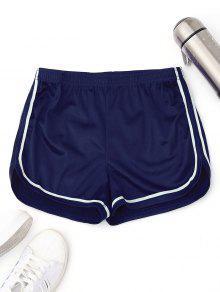 مرونة الخصر الحرير الرياضة الدلفين السراويل - أزرق S