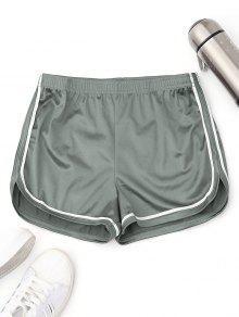 Shorts élastiques En Satin Et Sport - Vert Cendré S