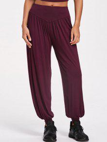 سروال رياضي واسع - عنابي اللون 2xl