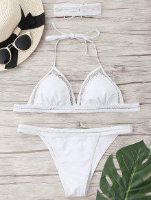 Conjunto De Bikini De Malla De Cadena Con Gargantilla - Blanco S