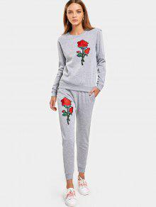 Rose Embroidered Patches Sweatshirt Et Casual Drawstring Pants - Gris M