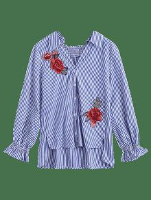 Raya Camisa Altas Florales S Rayas Bordadas aqgUwv