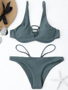 Set De Bikini Con Armadura De Encaje - Azul Gris S