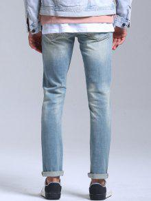 698aea1e858235 34% OFF] 2019 Stretch Patched Faded Jeans In LIGHT BLUE   ZAFUL