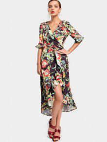 Flor Asimétrica Wrap Maxi Vestido - Floral L