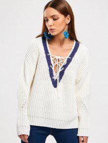 Chunky Pullover Mit Schnürsenkel Und Niedrigem Ausschnitt - Weiß