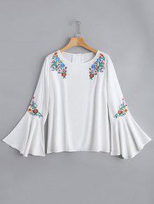 Blusa De Blusa Floral - Blanco M