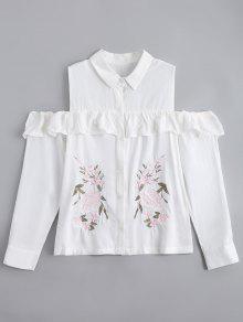 Chemise D'épaule à Froid Brodé Ruffles - Blanc M