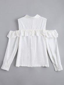 chemise brod e epaules ouvertes et volant blanc blouses s zaful. Black Bedroom Furniture Sets. Home Design Ideas