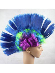 Navidad Halloween Carnaval Decoración Mohawk Peluca Sintética Partido - Azul Claro
