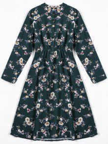 فستان طباعة الأزهار المصغرة ملائم وتوهج - مسود الخضراء Xl