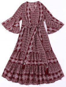 فستان بوهيمي مربوط ربطة طباعة هندية - أحمر غامق L