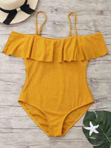 مضلع متماسكة قطعة واحدة ملابس السباحة - زنجبيل Xl