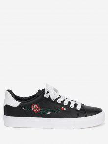 حذاء تزلج من الجلد المزيف مطرز بأزهار - أسود 38