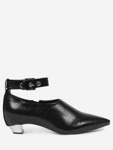 وأشار تو حزام الكاحل الأحذية المسطحة - أسود 39