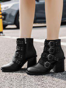 Block Heel Buckle Straps Ankle Boots